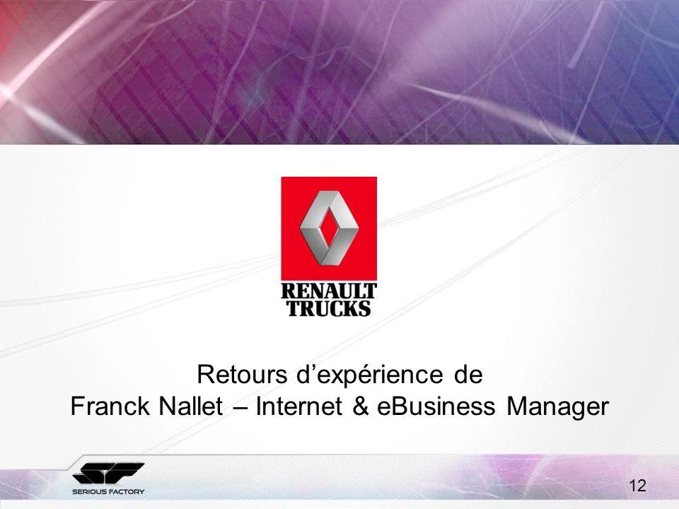 Retours d'expérience de Franck Nallet – Internet & eBusiness Manager