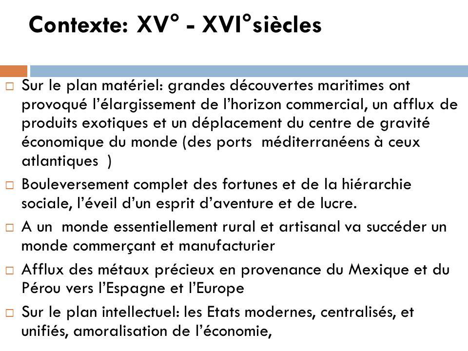 Contexte: XV° - XVI°siècles