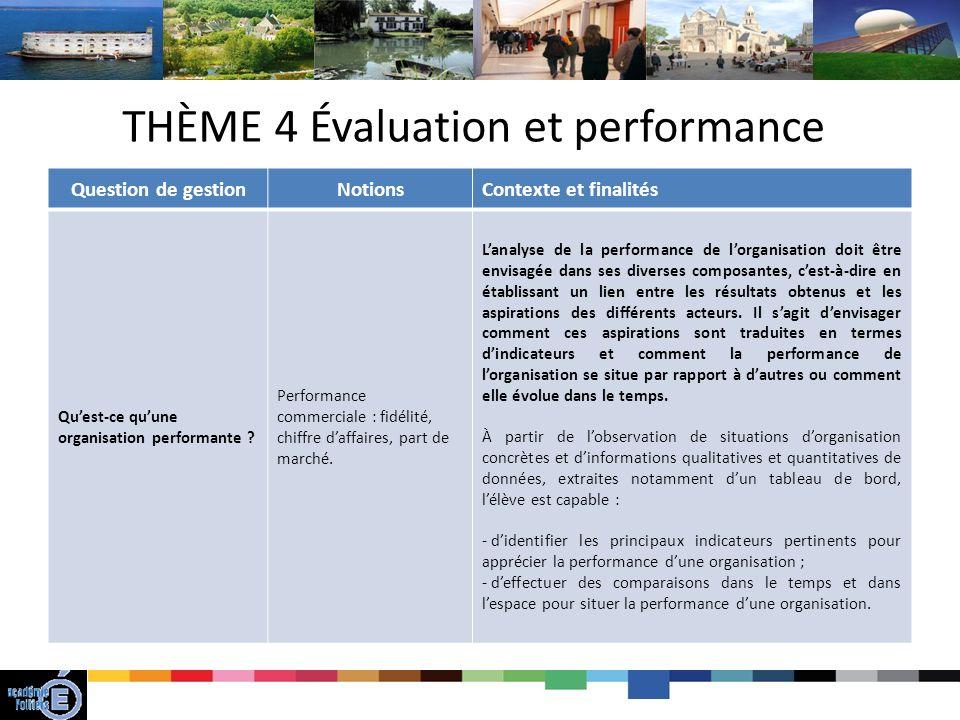 THÈME 4 Évaluation et performance