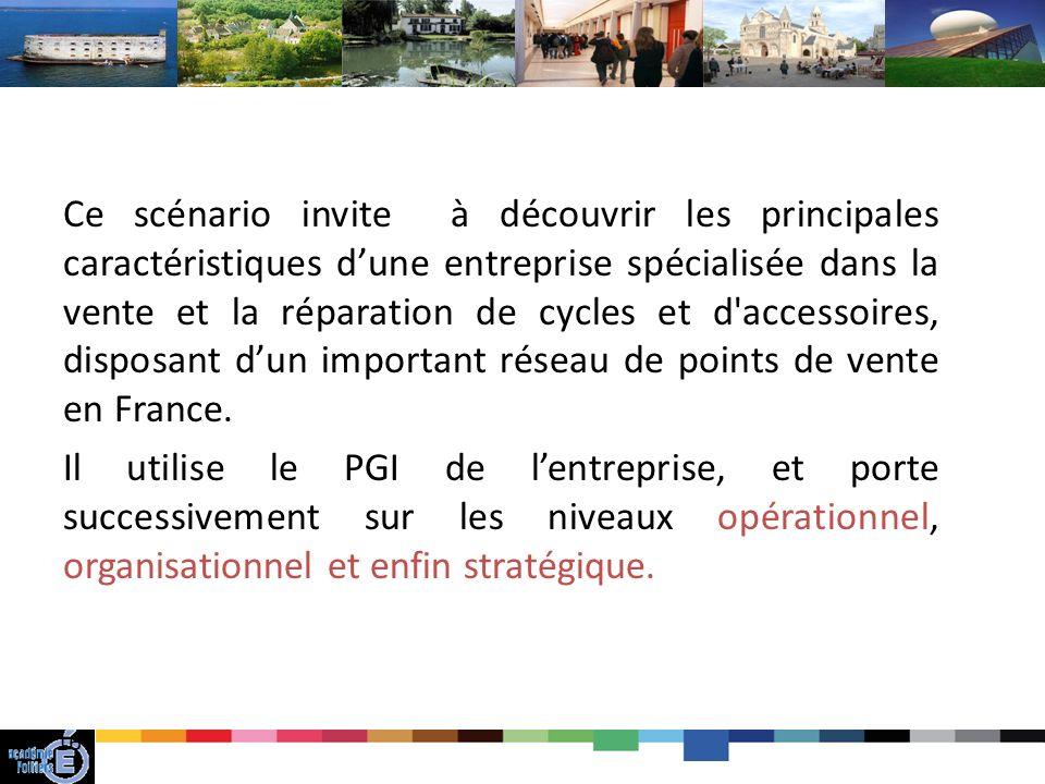 Ce scénario invite à découvrir les principales caractéristiques d'une entreprise spécialisée dans la vente et la réparation de cycles et d accessoires, disposant d'un important réseau de points de vente en France.