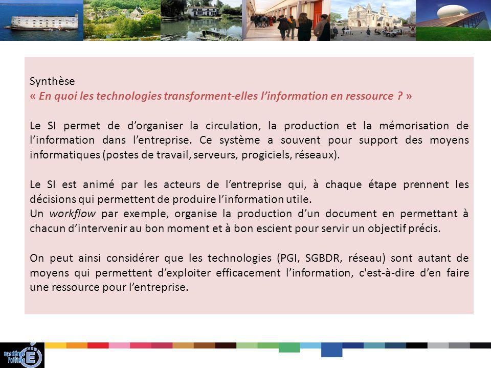 Synthèse « En quoi les technologies transforment-elles l'information en ressource »