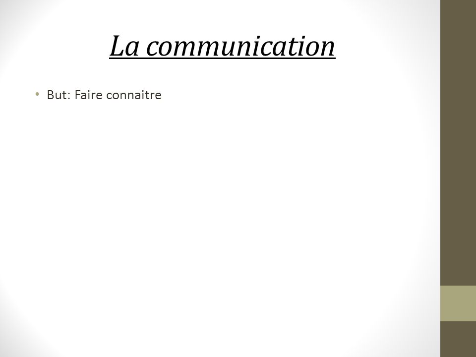 La communication But: Faire connaitre