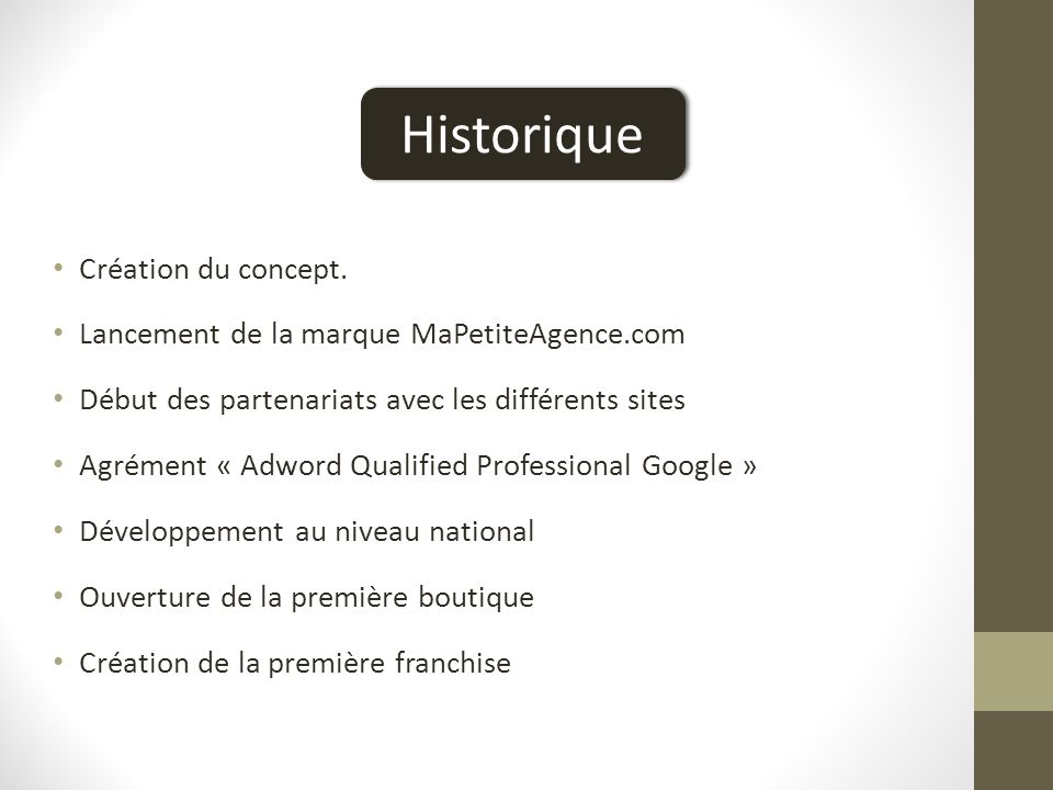 Historique Historique Création du concept.