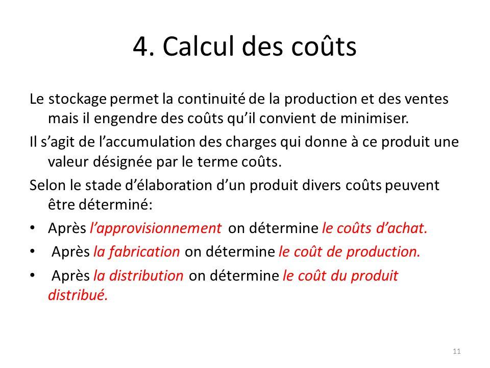 4. Calcul des coûts Le stockage permet la continuité de la production et des ventes mais il engendre des coûts qu'il convient de minimiser.