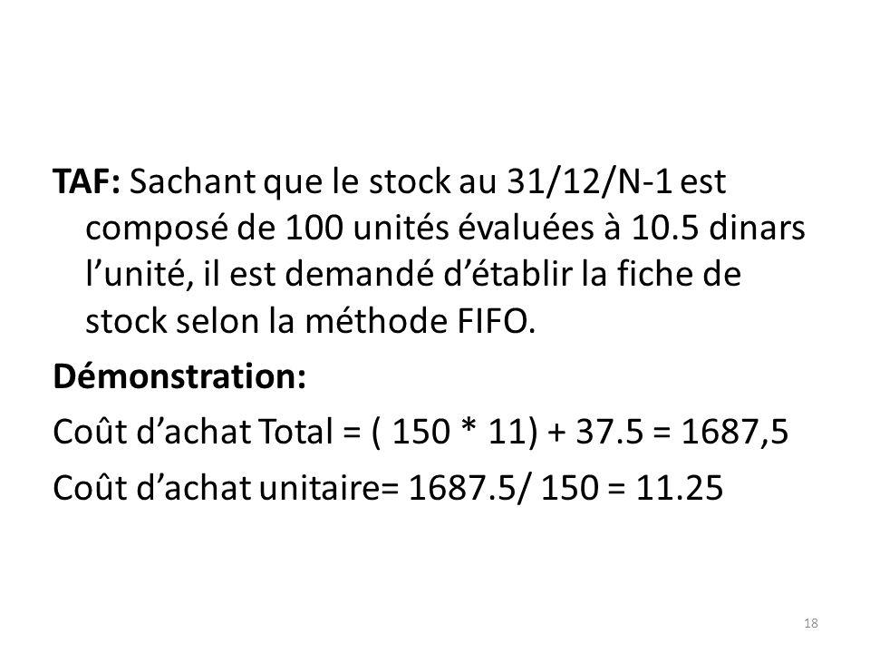 TAF: Sachant que le stock au 31/12/N-1 est composé de 100 unités évaluées à 10.5 dinars l'unité, il est demandé d'établir la fiche de stock selon la méthode FIFO.