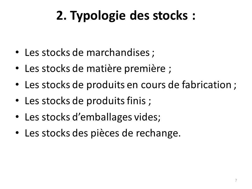 2. Typologie des stocks : Les stocks de marchandises ;