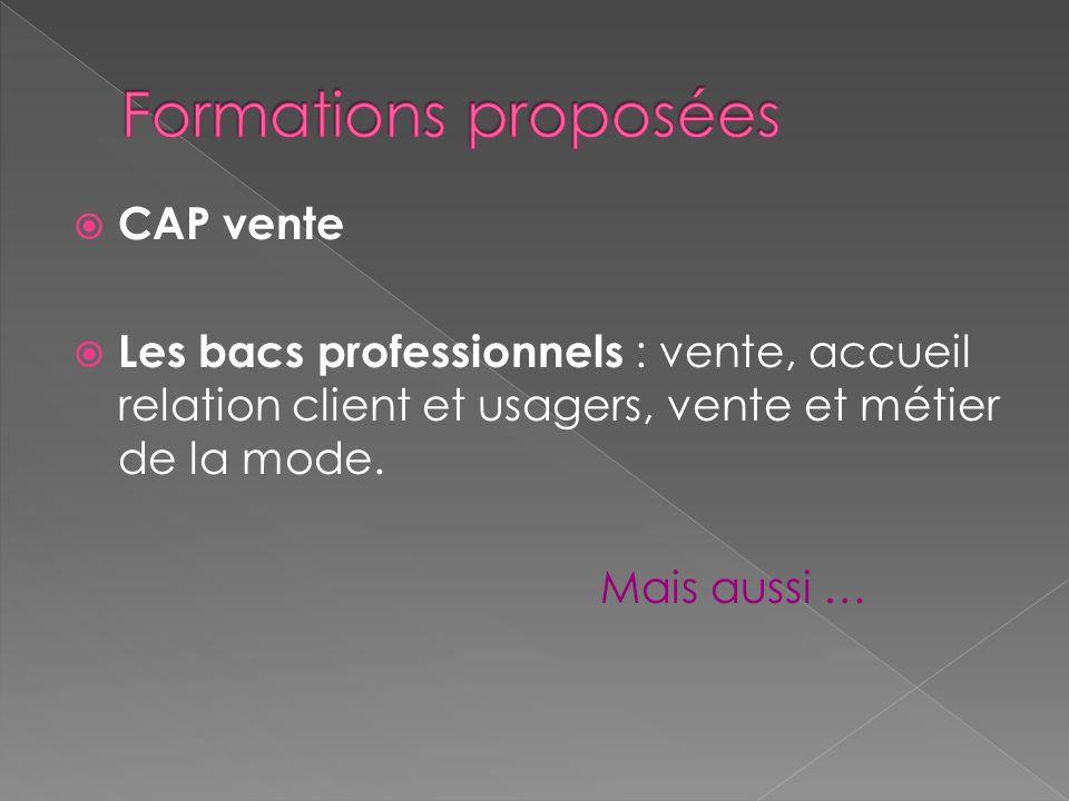 Formations proposées CAP vente