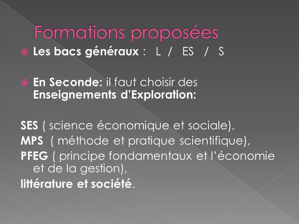 Formations proposées Les bacs généraux : L / ES / S