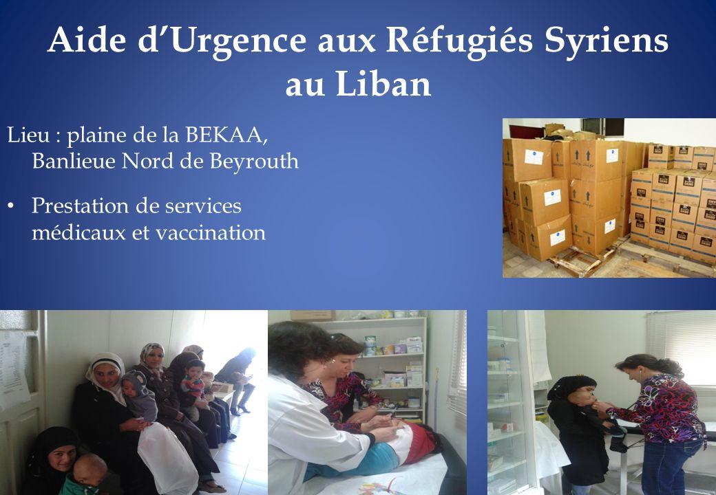 Aide d'Urgence aux Réfugiés Syriens au Liban