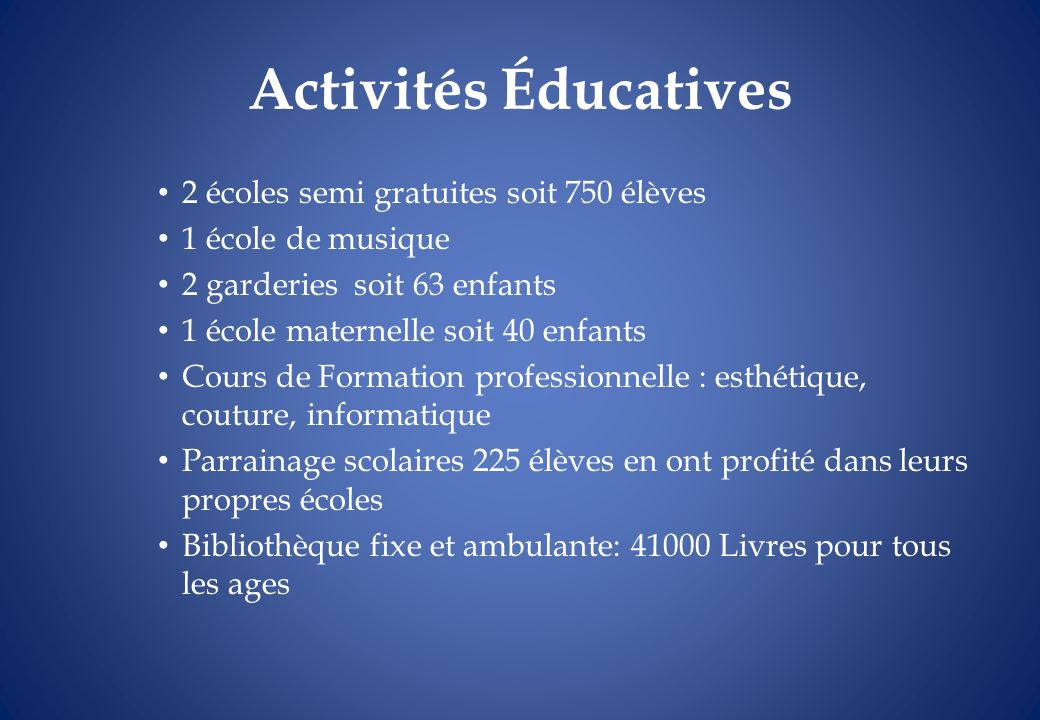 Activités Éducatives 2 écoles semi gratuites soit 750 élèves