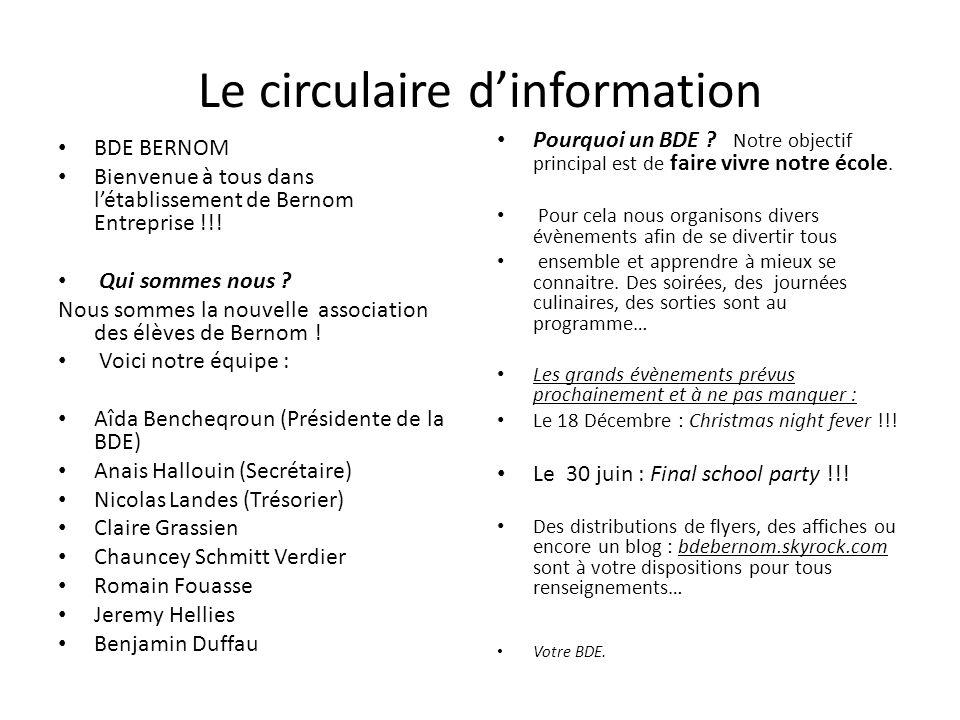 Le circulaire d'information