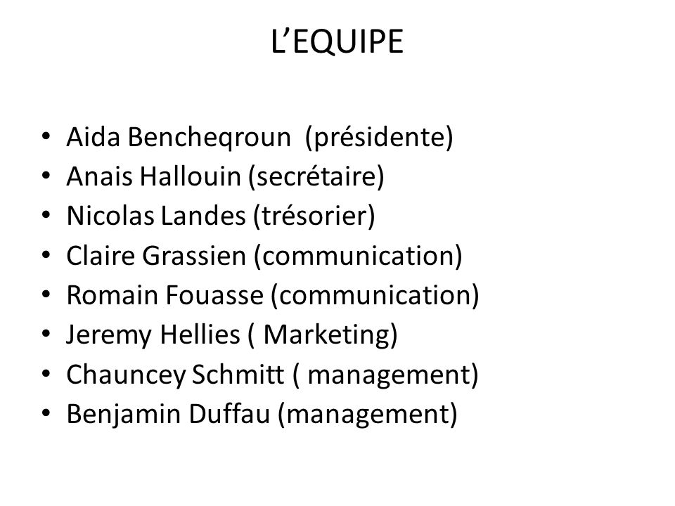 L'EQUIPE Aida Bencheqroun (présidente) Anais Hallouin (secrétaire)