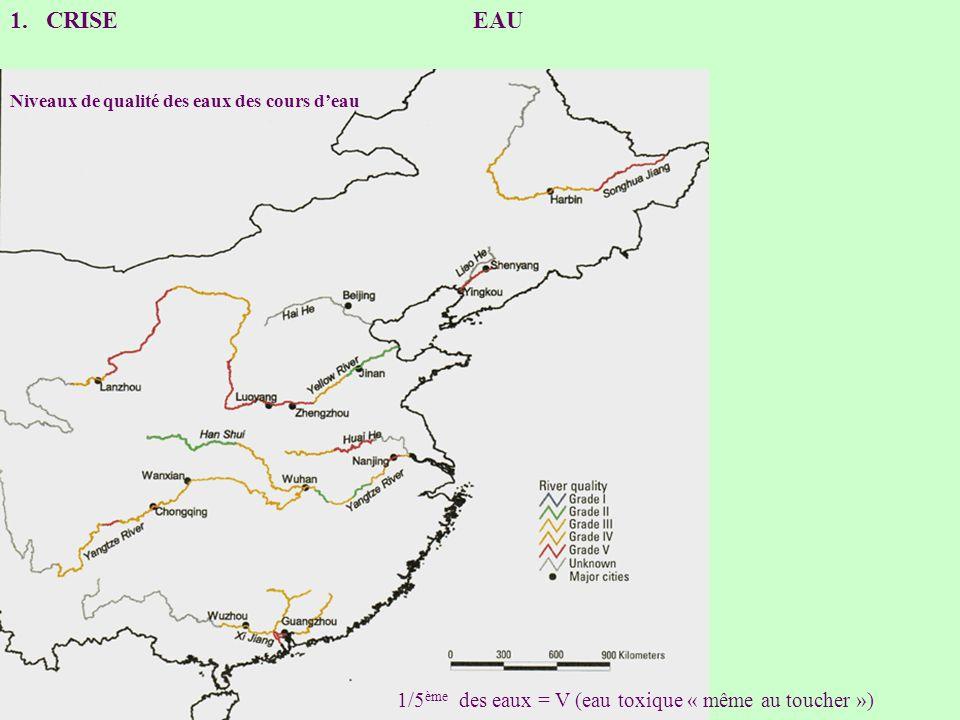 CRISE EAU 1/5ème des eaux = V (eau toxique « même au toucher »)