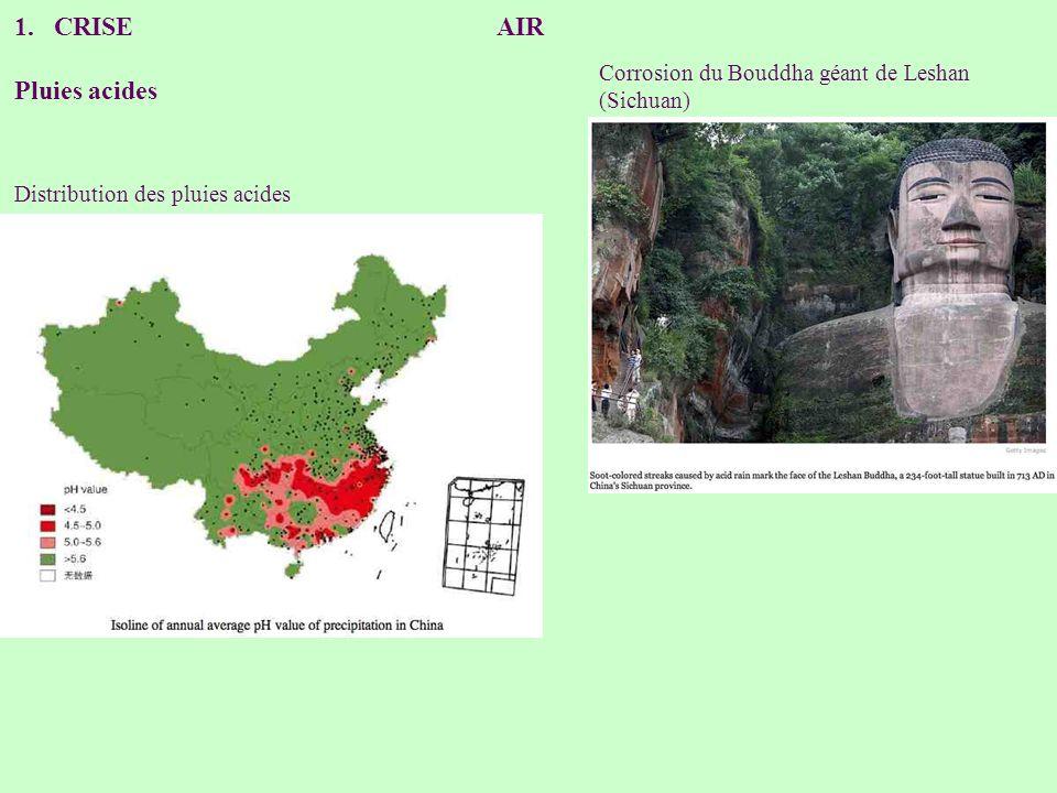 CRISE AIR Pluies acides Corrosion du Bouddha géant de Leshan (Sichuan)