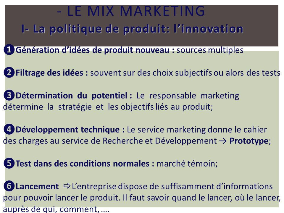 - Le mix marketing I- La politique de produit: l'innovation