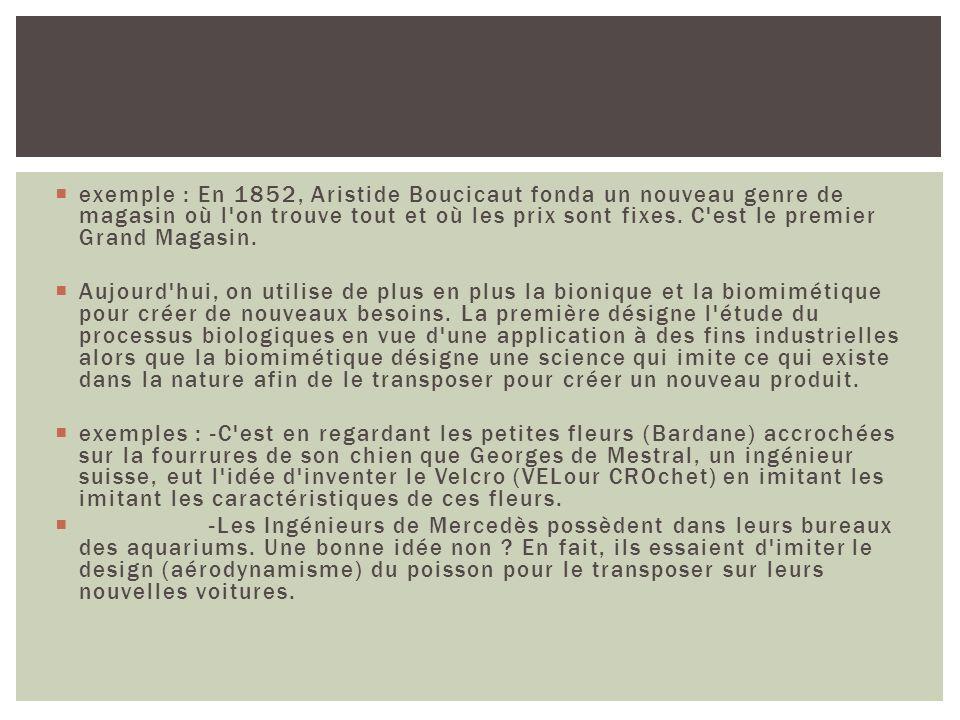 exemple : En 1852, Aristide Boucicaut fonda un nouveau genre de magasin où l on trouve tout et où les prix sont fixes. C est le premier Grand Magasin.