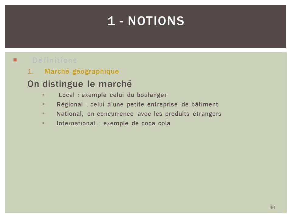 1 - Notions On distingue le marché Définitions Marché géographique