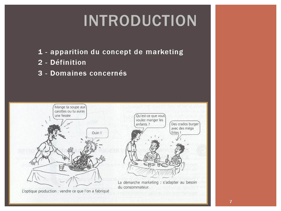 Introduction 1 - apparition du concept de marketing 2 - Définition