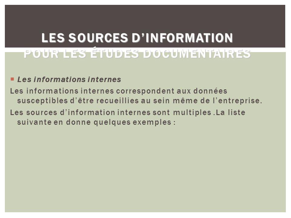 Les sources d'information pour les études documentaires