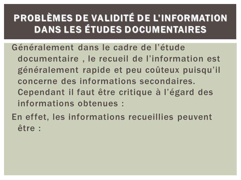 Problèmes de validité de l'information dans les études documentaires