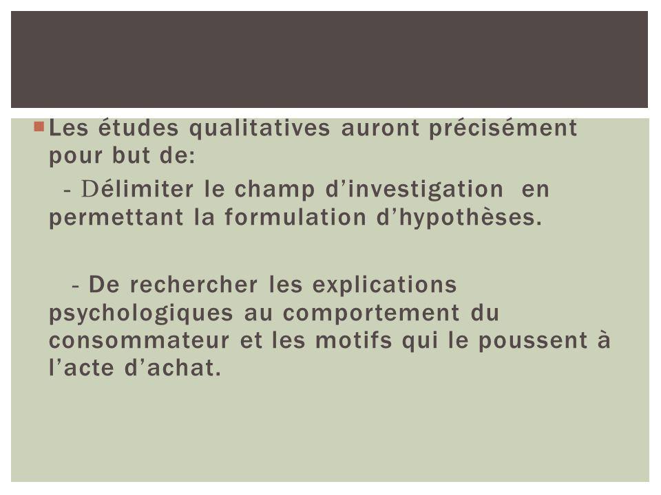 Les études qualitatives auront précisément pour but de: