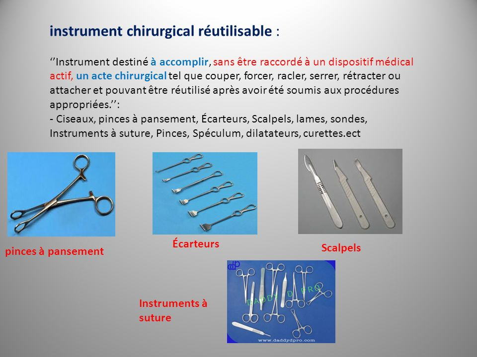 instrument chirurgical réutilisable :