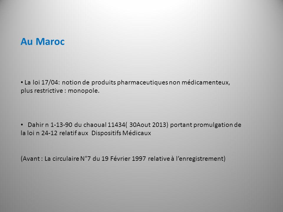 Au Maroc La loi 17/04: notion de produits pharmaceutiques non médicamenteux, plus restrictive : monopole.