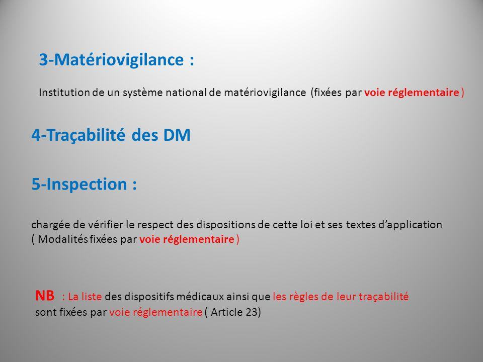 3-Matériovigilance : 4-Traçabilité des DM 5-Inspection :