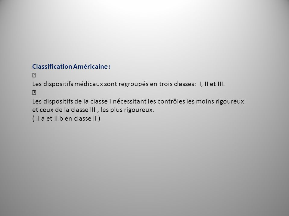 Classification Américaine :