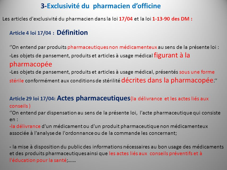 3-Exclusivité du pharmacien d'officine