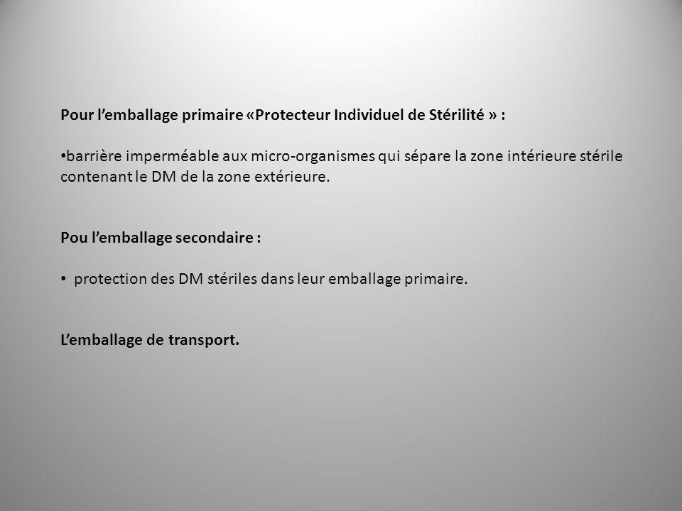 Pour l'emballage primaire «Protecteur Individuel de Stérilité » :