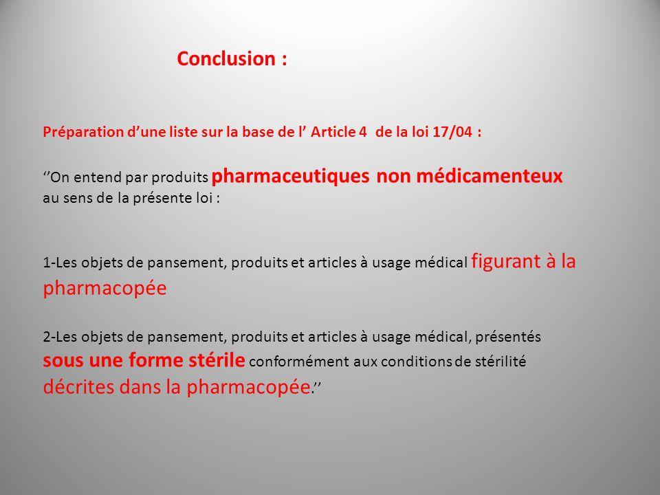 Conclusion : Préparation d'une liste sur la base de l' Article 4 de la loi 17/04 :