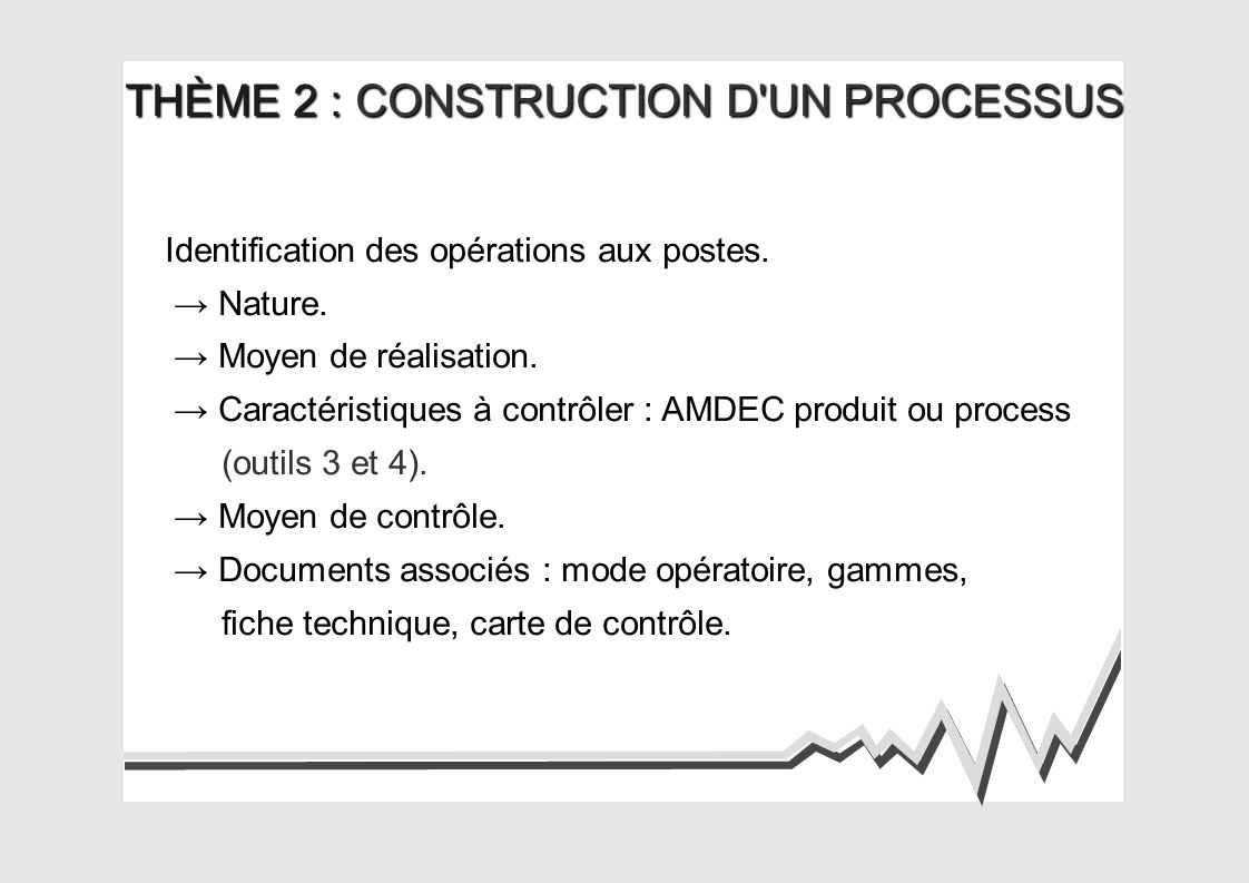 THÈME 2 : CONSTRUCTION D UN PROCESSUS