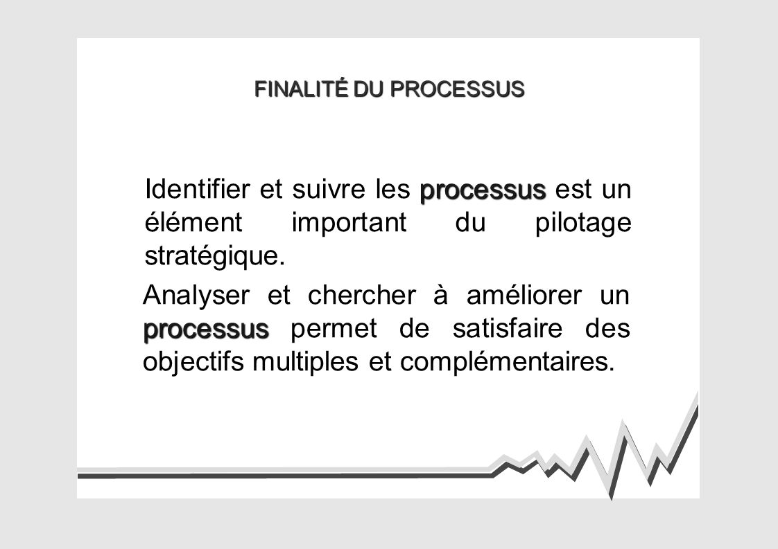 FINALITÉ DU PROCESSUS Identifier et suivre les processus est un élément important du pilotage stratégique.