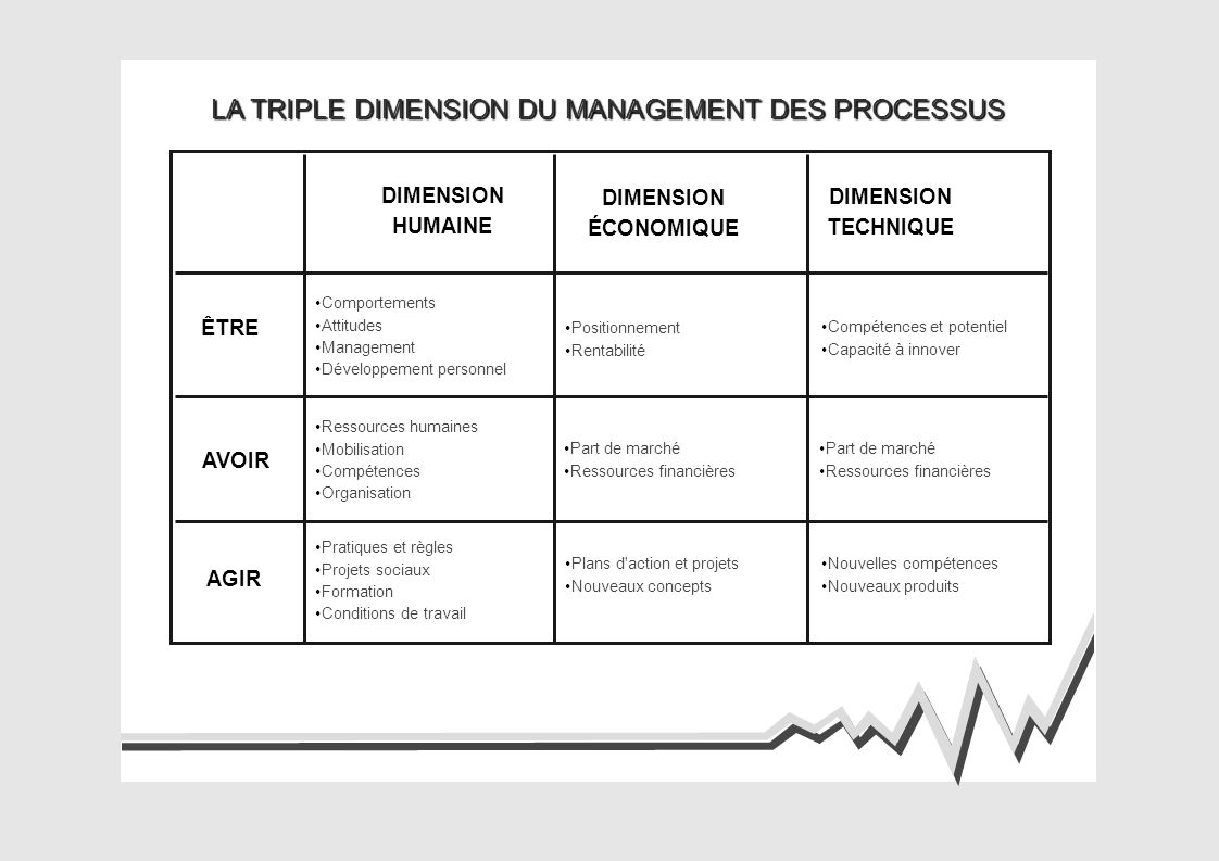 LA TRIPLE DIMENSION DU MANAGEMENT DES PROCESSUS