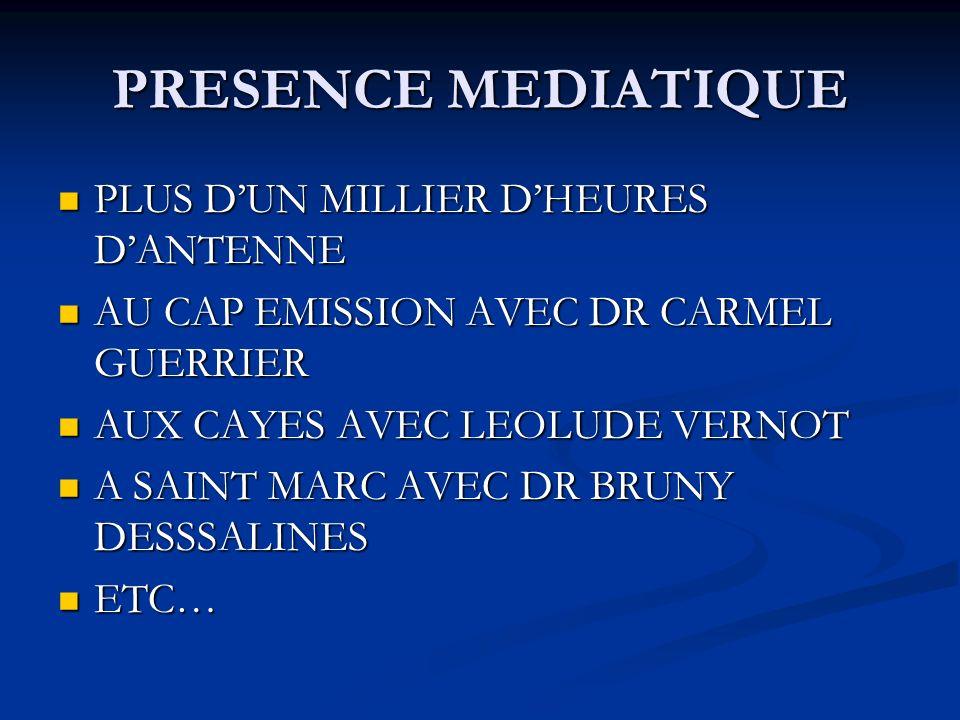 PRESENCE MEDIATIQUE PLUS D'UN MILLIER D'HEURES D'ANTENNE
