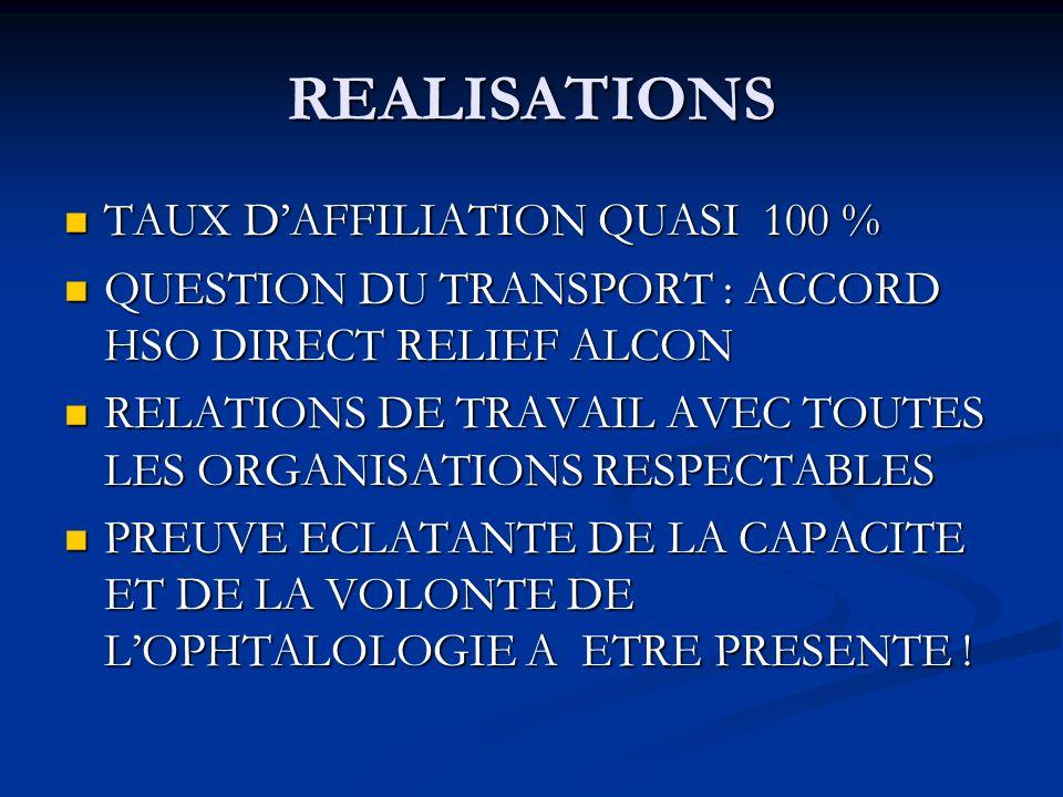 REALISATIONS TAUX D'AFFILIATION QUASI 100 %