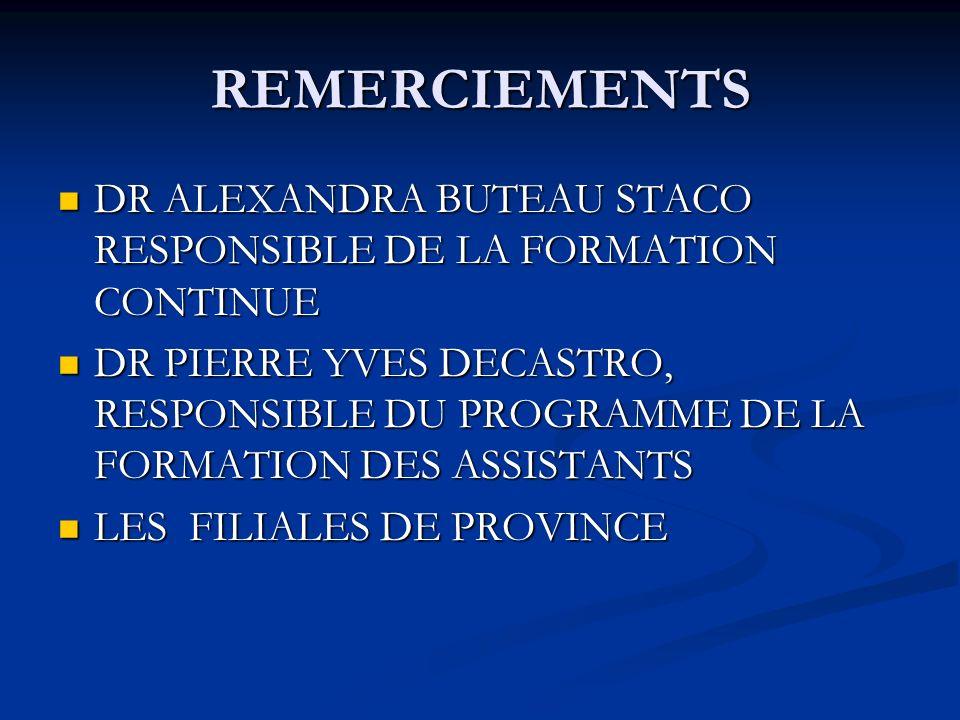 REMERCIEMENTS DR ALEXANDRA BUTEAU STACO RESPONSIBLE DE LA FORMATION CONTINUE.