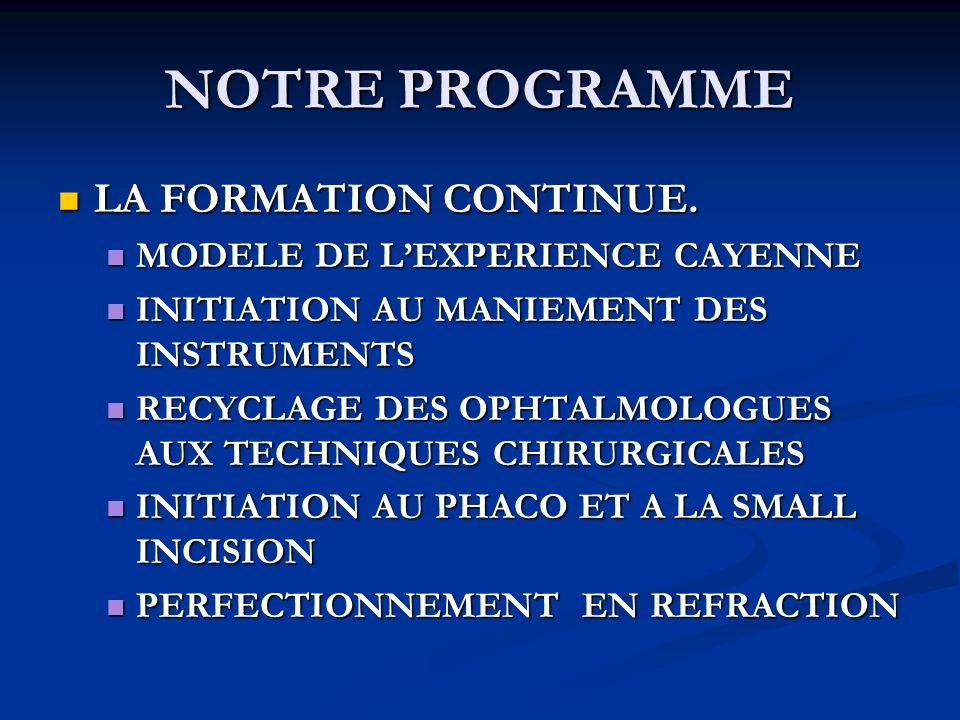 NOTRE PROGRAMME LA FORMATION CONTINUE. MODELE DE L'EXPERIENCE CAYENNE