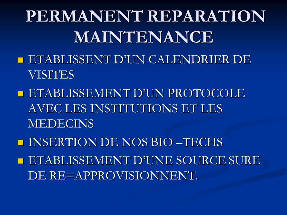 PERMANENT REPARATION MAINTENANCE
