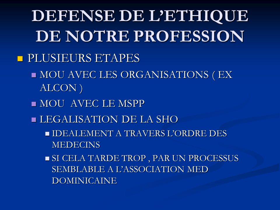 DEFENSE DE L'ETHIQUE DE NOTRE PROFESSION