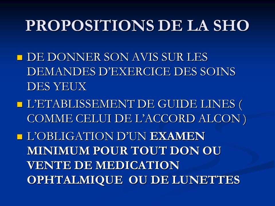 PROPOSITIONS DE LA SHO DE DONNER SON AVIS SUR LES DEMANDES D'EXERCICE DES SOINS DES YEUX.
