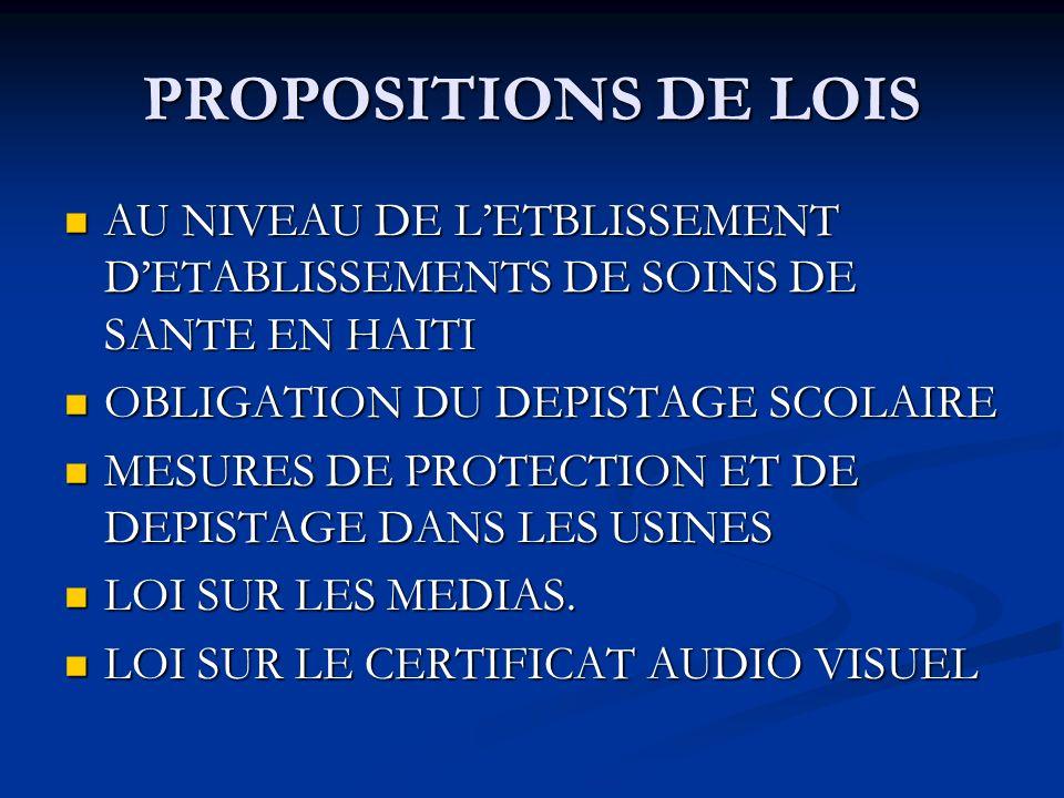 PROPOSITIONS DE LOIS AU NIVEAU DE L'ETBLISSEMENT D'ETABLISSEMENTS DE SOINS DE SANTE EN HAITI. OBLIGATION DU DEPISTAGE SCOLAIRE.