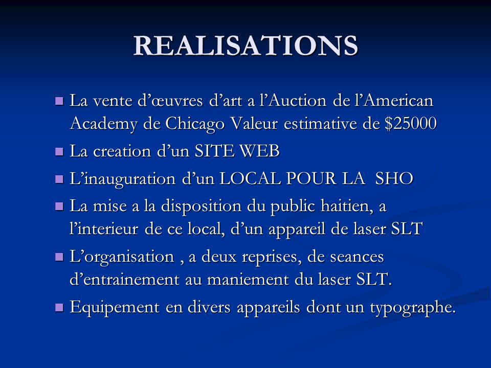 REALISATIONS La vente d'œuvres d'art a l'Auction de l'American Academy de Chicago Valeur estimative de $25000.