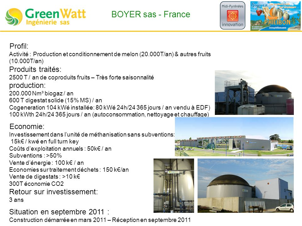 BOYER sas - France Profil: Produits traités: production: Economie: