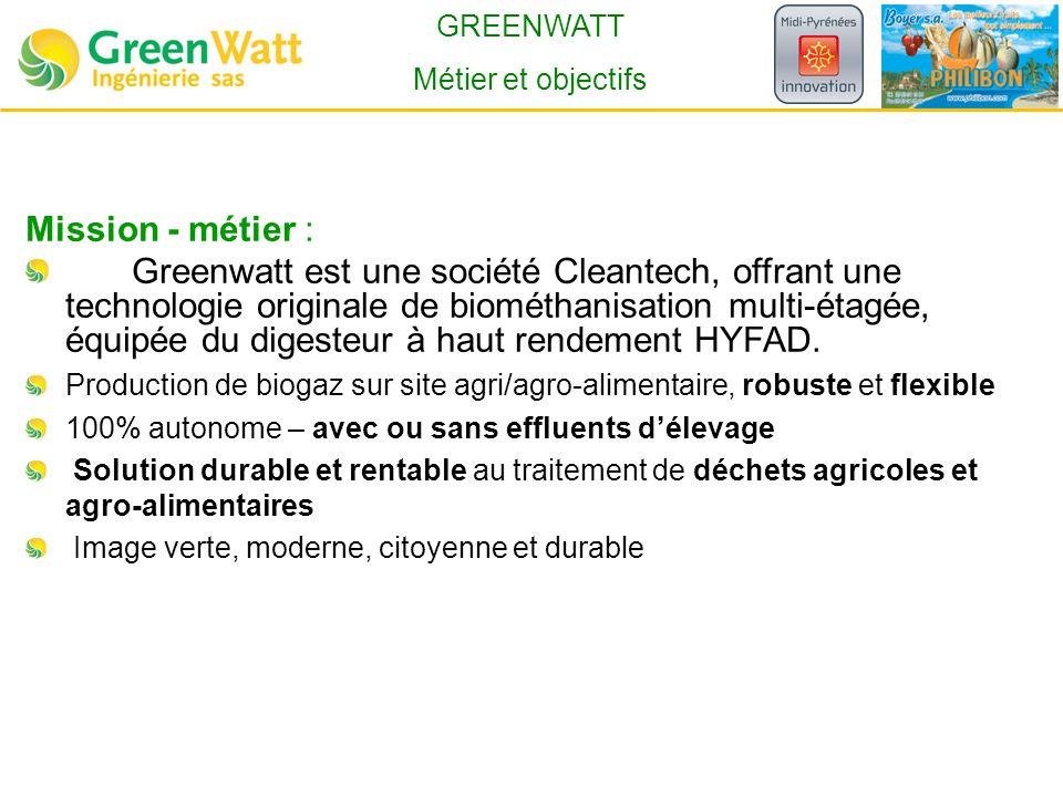 GREENWATT Métier et objectifs. Mission - métier :