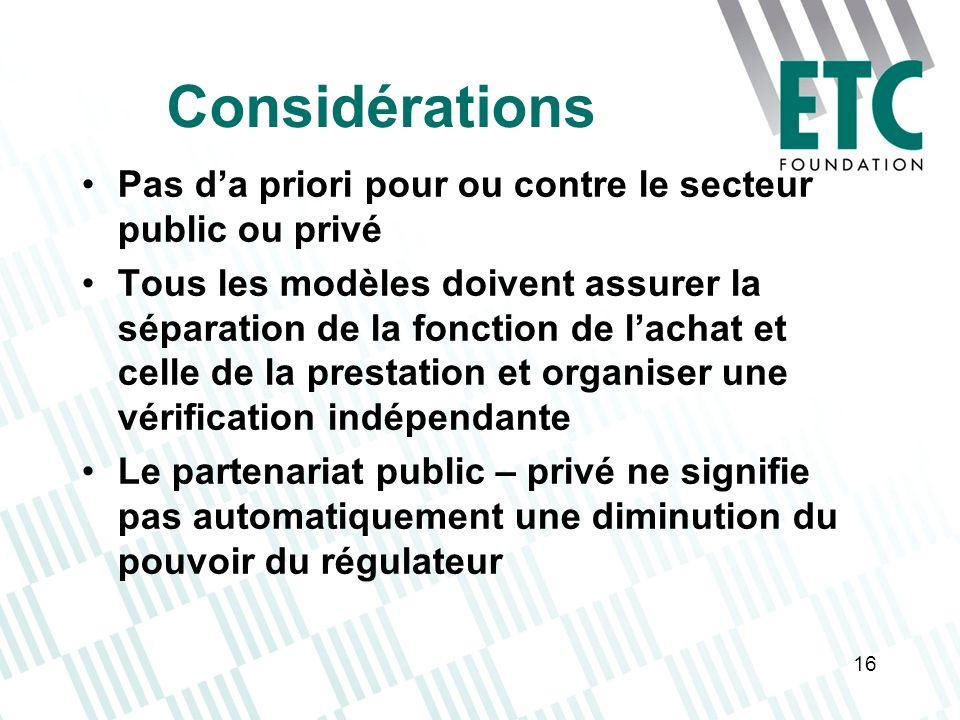 Considérations Pas d'a priori pour ou contre le secteur public ou privé.
