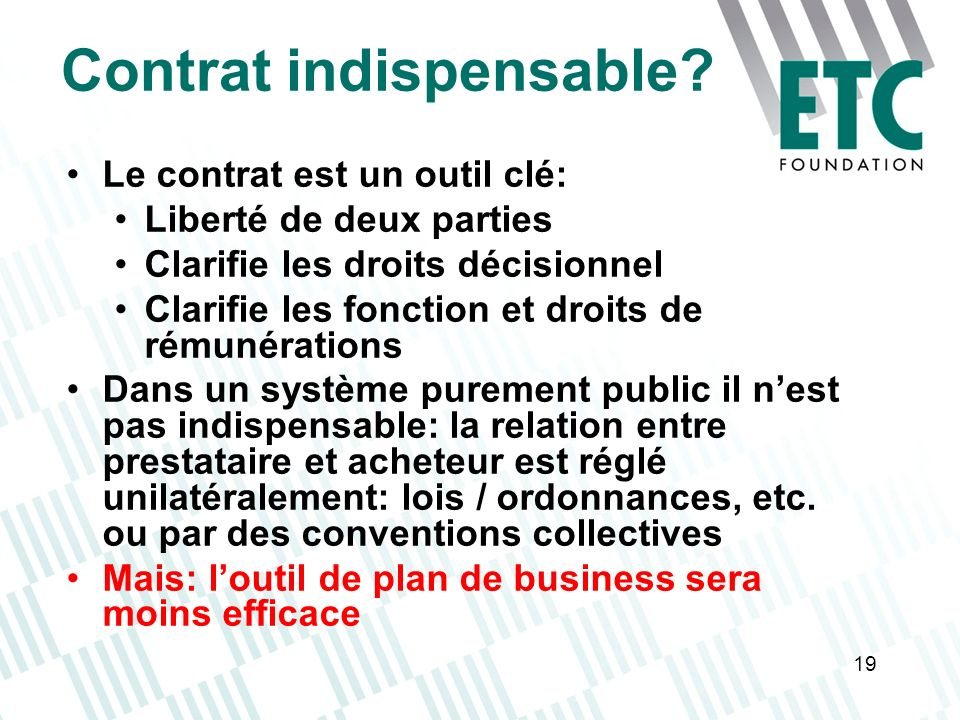 Contrat indispensable