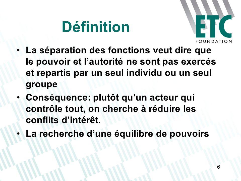 Définition La séparation des fonctions veut dire que le pouvoir et l'autorité ne sont pas exercés et repartis par un seul individu ou un seul groupe.