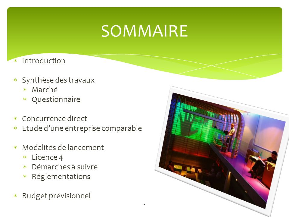 SOMMAIRE Introduction Synthèse des travaux Marché Questionnaire